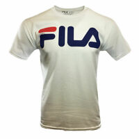 Men's T-Shirt FILA Mens Tee SMALL -White- Logo Athletic Sport Apparel Tee NEW