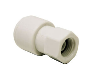 White Push Fit Female 1/8 inch Threaded Gauge Connector to 1/4 inch Push Fit