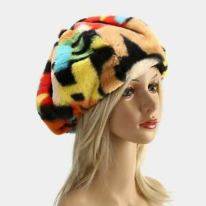 Women's Winter Rabbit Fur Beret French Fashion Graffiti Rainbow Letter Warm Hats