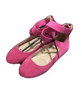 Bella Marie Children's Shoes Girls Size 12. Dark Pink Flats With Ankle Straps
