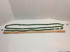 "Vintage Green Mercury Glass Beads Christmas Tree Garland 92"" Antique Japan"