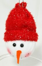 Vintage White Red Fabric Snowman Head Christmas Ornament Holiday Decoration