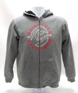 QUIKSILVER GRAY ZIPPERED HOODIE - SIZE YOUTH LG - EUC