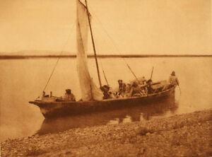 Edward Curtis - Starting up the Noatak River - Kotzebue, Vintage Tissue Gravure