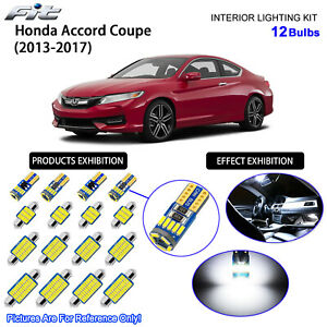 12 Bulbs LED Interior Dome Light Kit Cool White For 2013-2017 Honda Accord Coupe
