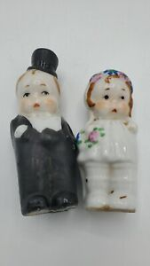 Ceramic Japan Bridal Couple Bride And Groom 3.5 Inches Salt And Pepper Shakers