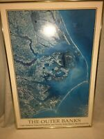 """Matted, Framed 30"""" x 20"""" The Outer Banks Coast Line Picture Print by Space Shots"""