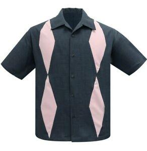 Steady Clothing Diamond Duo Charcoal Rockabilly Bowling Button Shirt ST37091