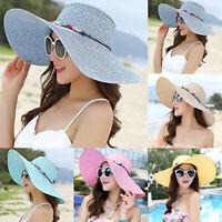 Womens Ladies Wide Large Brim Straw Hat Floppy Boho Sun Beach Folding Summer Cap