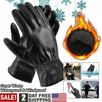 Men's Black PU Leather Touch Screen Winter Wrist Gloves Driving Gloves Waterproo