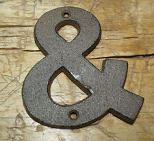 """Cast Iron Industrial LETTER & Sign Rustic Brown AMPERSAND 4 3/4"""" tall"""
