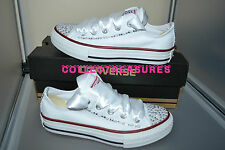 Custom Crystal Diamante Bling Wedding White Lo Converse Size UK 3 4 5 6 7 8 9
