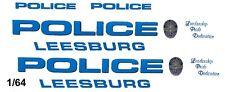 Leesburg, Va. Police Crusier 1/64th HO Scale Slot Car Waterslide Decals