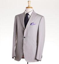 NWT $6200 CESARE ATTOLINI Lightweight Pearl Gray Silk Summer Suit 38 R (Eu 48)