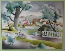 Benjamin Jorj Harris Airbrush Watercolor Landscape #1762 ND Inc Park Setting Art
