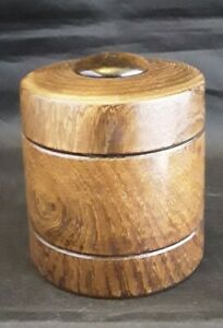 Hand Turned Wooden Trinket Box With Tigers Eye Stone set in the Lid