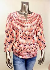 CHICO'S *NEW SIZE 1 (M) ORANG GEOMETRIC V NECK 3/4 SLEEVES RUCHED SIDE TOP NWT