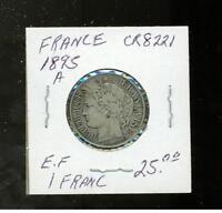 1895 A France 1 franc  Coin  CR 822.1