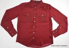 New Willi Smith Women's M Dark Red Button Down Front Shirt Top