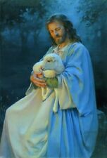 Kathy Lawrence I KNOW MY SHEEP 14x11 double matted print, Jesus Good Shepherd