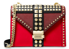 🌺🌹  Michael Kors Whitney Large Studded Convertible Shoulder Bag Red Multi/Gold