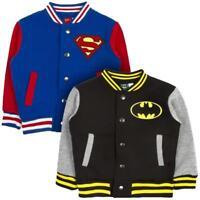 DC COMICS KIDS SUPERHERO BASEBALL JACKET BATMAN SUPERMAN VARSITY FLEECE COAT