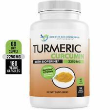 Turmeric Curcumin - 2250mg/d - 180 Veggie Caps - 95% Curcuminoids with Bioperine