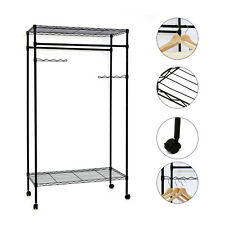 Kinbor Metal Black Closet Organizer Clothes Hanger Utility Storage Rack, w/Wheel