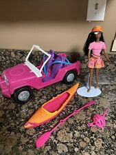 mattel barbie mixed lot jeep truck canoe w doll and accessories camping