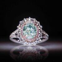 Tourmaline Women Sapphire 925 Wedding Silver Ring Chic Pink Anniversary White