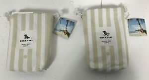2 Beige & White Stripe Dock & Bay Cabana Collection Quick Dry Towels - NEW  D5