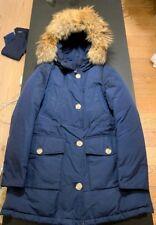 Woolrich Arctic Fur Trimmed Cotton Blend Canvas Parka - Blue, Large - FREE P&P!