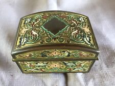 French Champleve Enamel Domed Footed Box With Satin Tufted Interior C 1800's