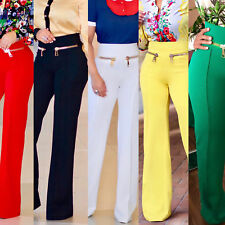 Womens Casual Slim High Waist Flare Wide Leg Palazzo Long Trousers Pants S-XXL