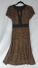 Glamour dress sleeveless animal print a-line tie waist midi size 8