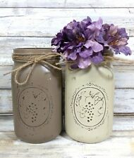(2) Fall Farm Painted Mason Jar Utensil Holders Rustic Decor Farm Decor Wedding