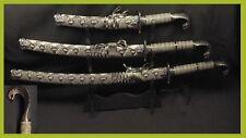 New 3 Pcs Cobra Head Snake Skin Japanese Samurai Katana Dagger Sword Set w Stand
