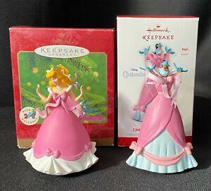 Hallmark Disney Cinderelly 2013 & Dressing Cinderella 2000 Christmas Ornament