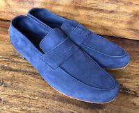 Mens M. Gemi Casual Loafers Super Soft Blue Suede Size EU 44 1/2 US 11