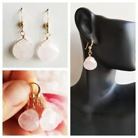 Rose Quartz EARRINGS GEM STONE FACETED Briolette 14k GOLD FILLED DROP EARRING