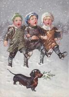 CHRISTMAS, CHILDREN SINGING, DACHSHUND, FIALKOWSKA, FRIDGE MAGNET