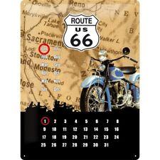 BLECHSCHILD 20360 - US ROUTE 66 - MOTORRAD / MAP KALENDER - 30 x 40 cm - NEU