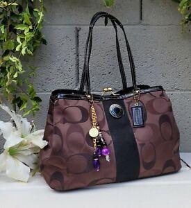 Coach brown Signature Kisslock Carryall shoulder bag Tote F20105 satchel purse