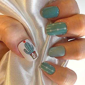Cactus Green color  nail polish wraps ZZ39 street art strips