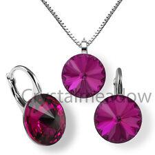 925 Sterling Silver Earrings Set FUCHSIA Dark Pink Crystals from Swarovski®'