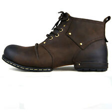 OTTO ZONE Real Handmade Genuine Leather Fashion Ankle Boots - Brown - All Size
