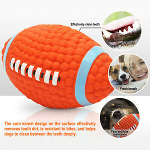 2Pcs Dog Pet Rugby Ball Toy Play Squeaky Latex Dog Soft Interactive Chew Ball UK