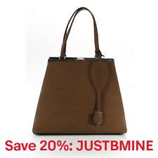 Fendi Womens Tote Handbag 2 Jours Tan Silver Tone Leather Large