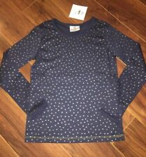 Hanna Andersson Navy Blue Long Sleeve Tee Shirt Gold Polka Dots Size 130 US 8 Y