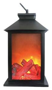 LED Lantern Fireplace Flameless Log Fire Effect Vintage Lamp Christmas Gift NEW